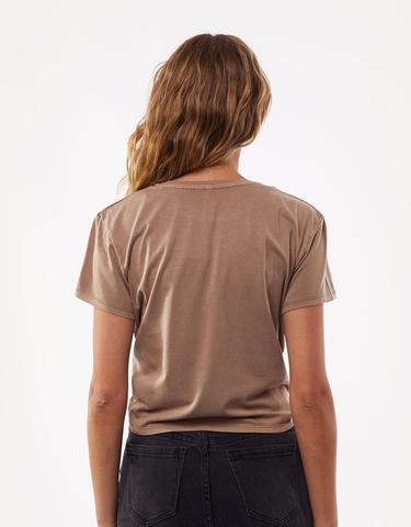 Script Knotted Tee - Tan