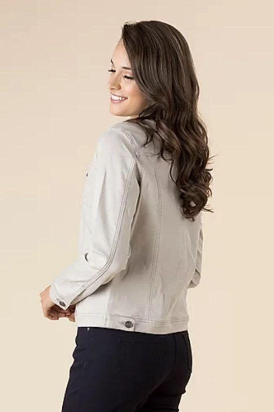 Collarless Denim Jacket Natural Women | Lyn Rose Boutique