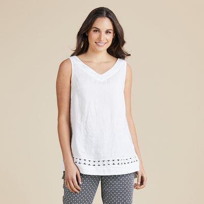 Linen & Lace Tank Women White | Lyn Rose Boutique