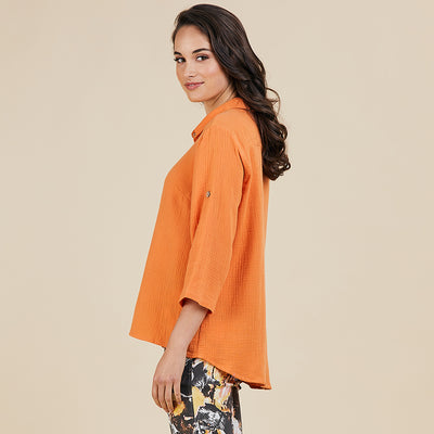 Textured shirt - Orange