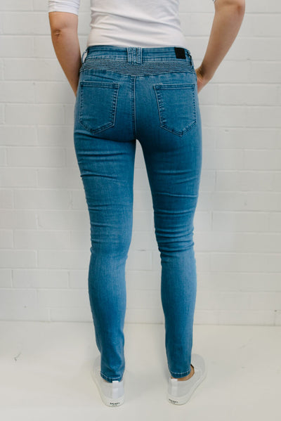 Ribbed Knee Jeans Women Mid  Wash | Lyn Rose Boutique
