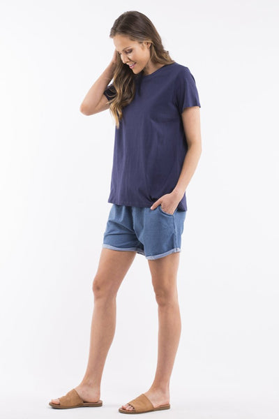 Elm Twist Back Tee Women Navy | Lyn Rose Boutique