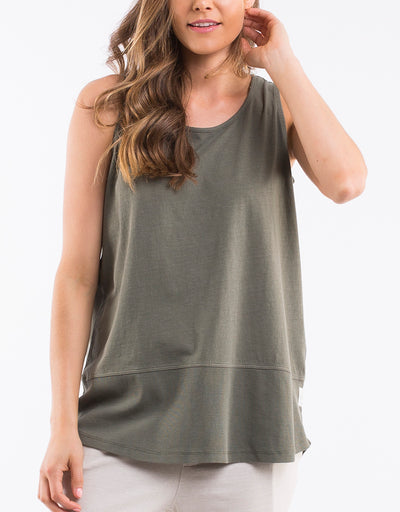 Elm Rib Tank Khaki Women | Lyn Rose Boutique