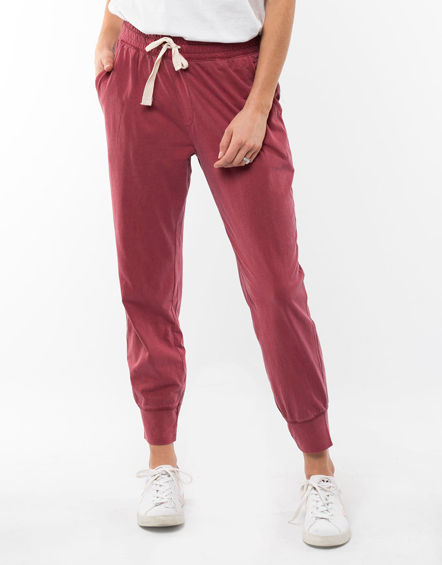 Wash Out Pant Women Berry Red | Lyn Rose Boutique