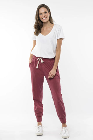 Wash Out Pant - Berry Red