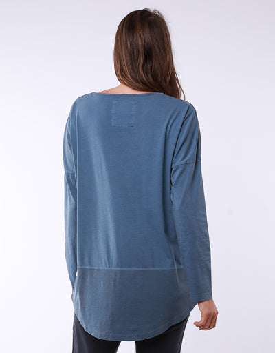 Fundamental Rib Long Sleeve Tee Steel Blue | Lyn Rose Boutique
