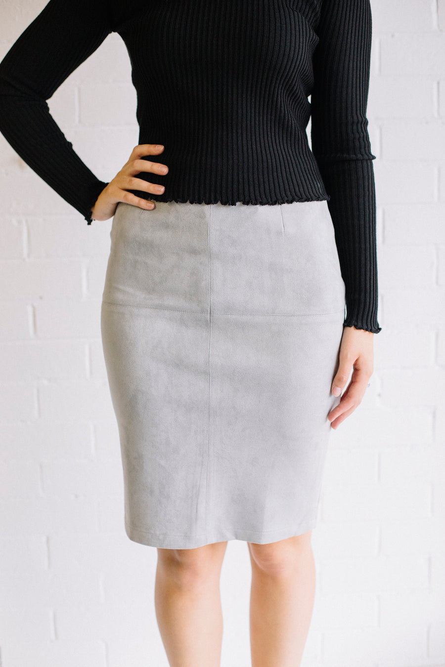Faux Suede  Skirt Women Ash | Lyn Rose Boutique