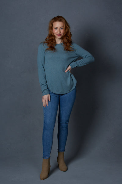 Curved Hem Pullover with Ribbed Back