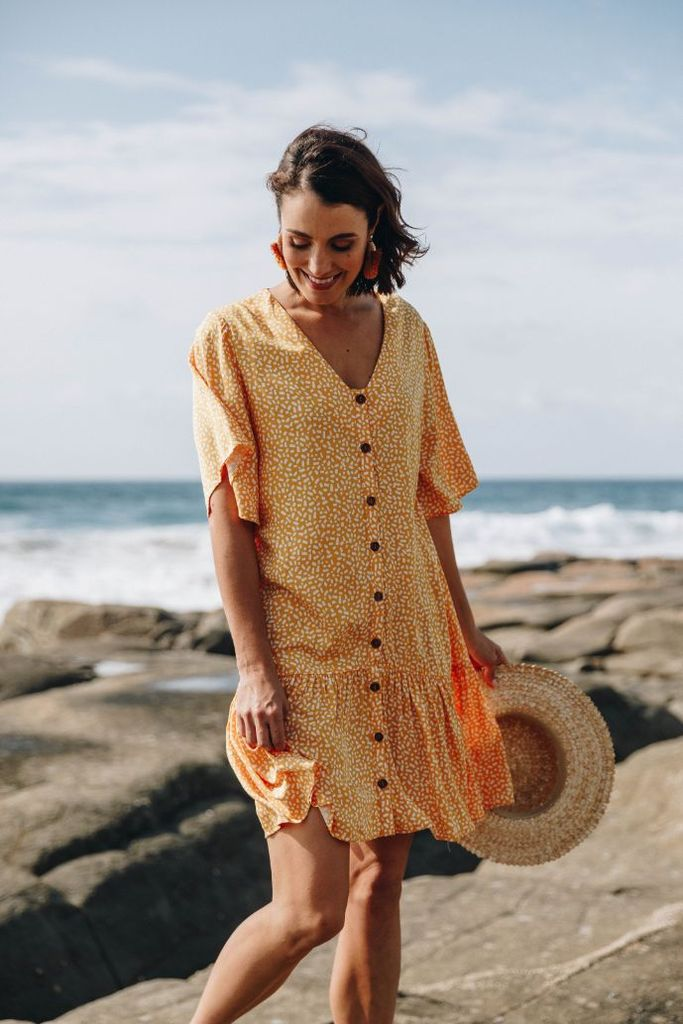 Button Down Frill Women Dress Sunshine | Lyn Rose Boutique