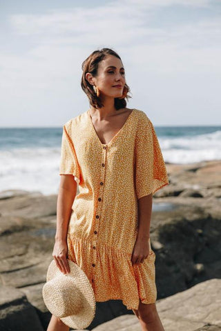 Button Down Frill Dress - Sunshine