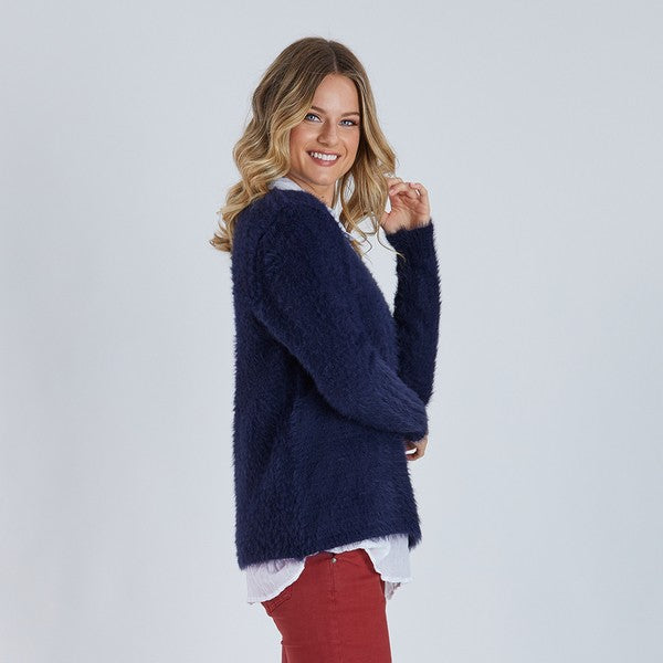Faux Fur Knit - Navy