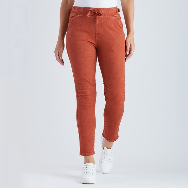 Threadz Tie Front Gathered Jean - Burnt Orange
