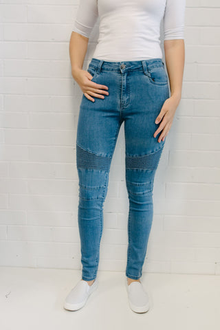 C/D Ribbed Knee Jeans - Mid Wash