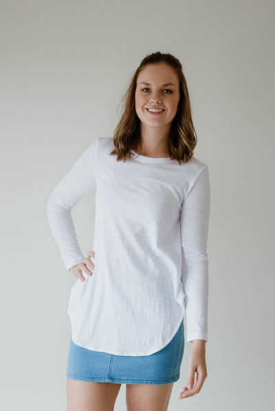 Scarlett Long Sleeve Tee-White