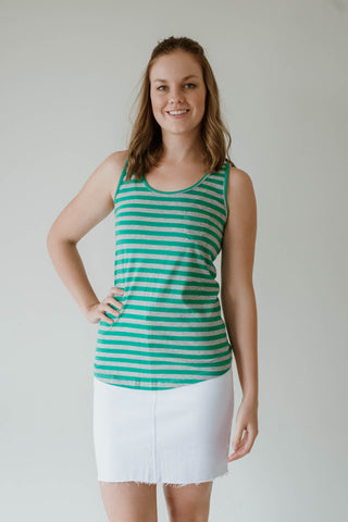 Sadie Basic / Stripe Singlet - Green