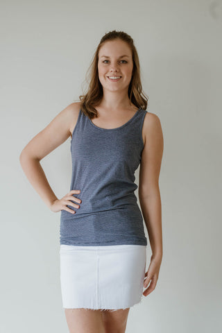 Sadie Basic / Stripe Singlet - Navy
