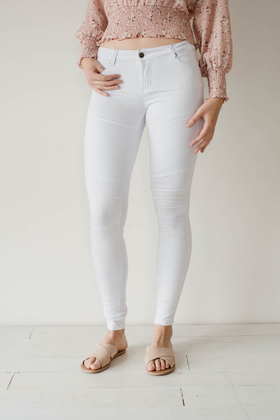 Biker Jean White Woman | Lyn Rose Boutique