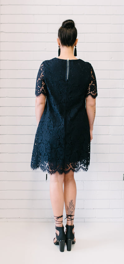 Penelope Lace Dress - Navy