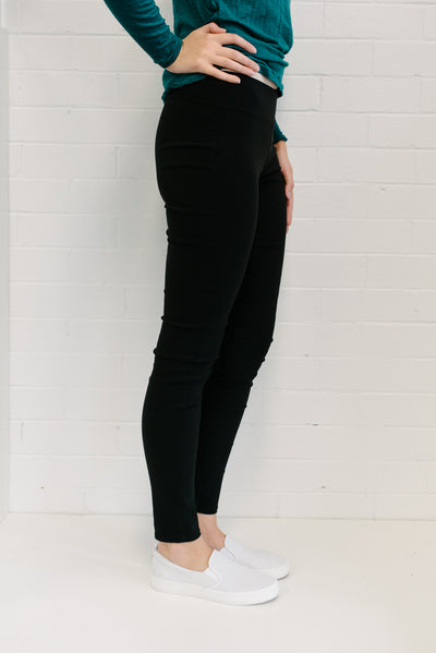 High Waist Ponte Women Pant Black | Lyn Rose Boutique