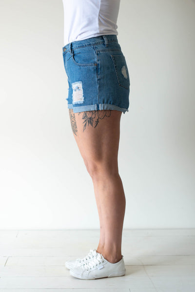 C/D Ripped Denim Shorts
