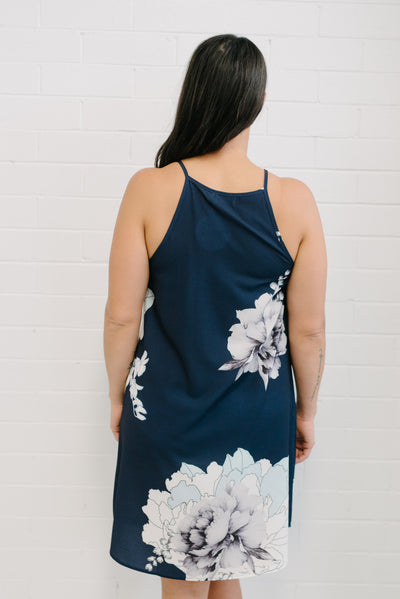 Floral Tank Dress Navy | Lyn Rose Boutique