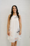 Floral Tank Dress White & Peach | Lyn Rose Boutique