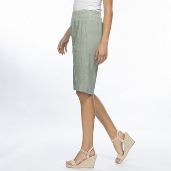 Jersey Waist Linen Short Women Khaki | Lyn Rose Boutique