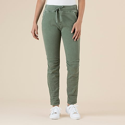 Tie Front Gathered Jeans Women Khaki | Lyn Rose Boutique