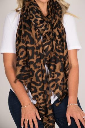Leopard Scarf - Chocolate