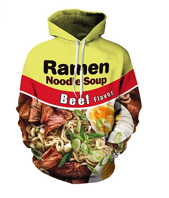A custom hoodie designed as a ramen hoodie for the young boys to show case their love for ramen and junkie food.