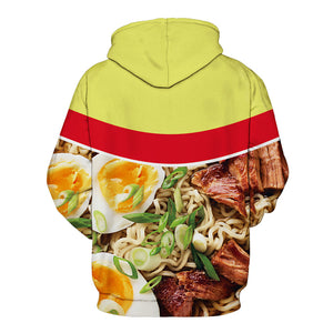 A hoodie customized as a ramen & beef hoodie for the young boys & girls to show case their love for junkie food.