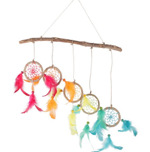 dreamcatcher-small-feathered-different-colour-dream catcher-on bamboo-stick-of-wood-from-legacy-gifts-and-accessories