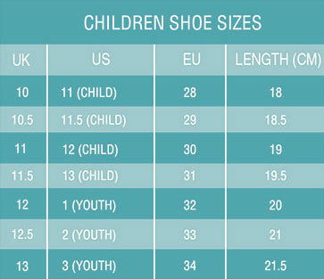 Kids Sneakers Sizing Chart Length