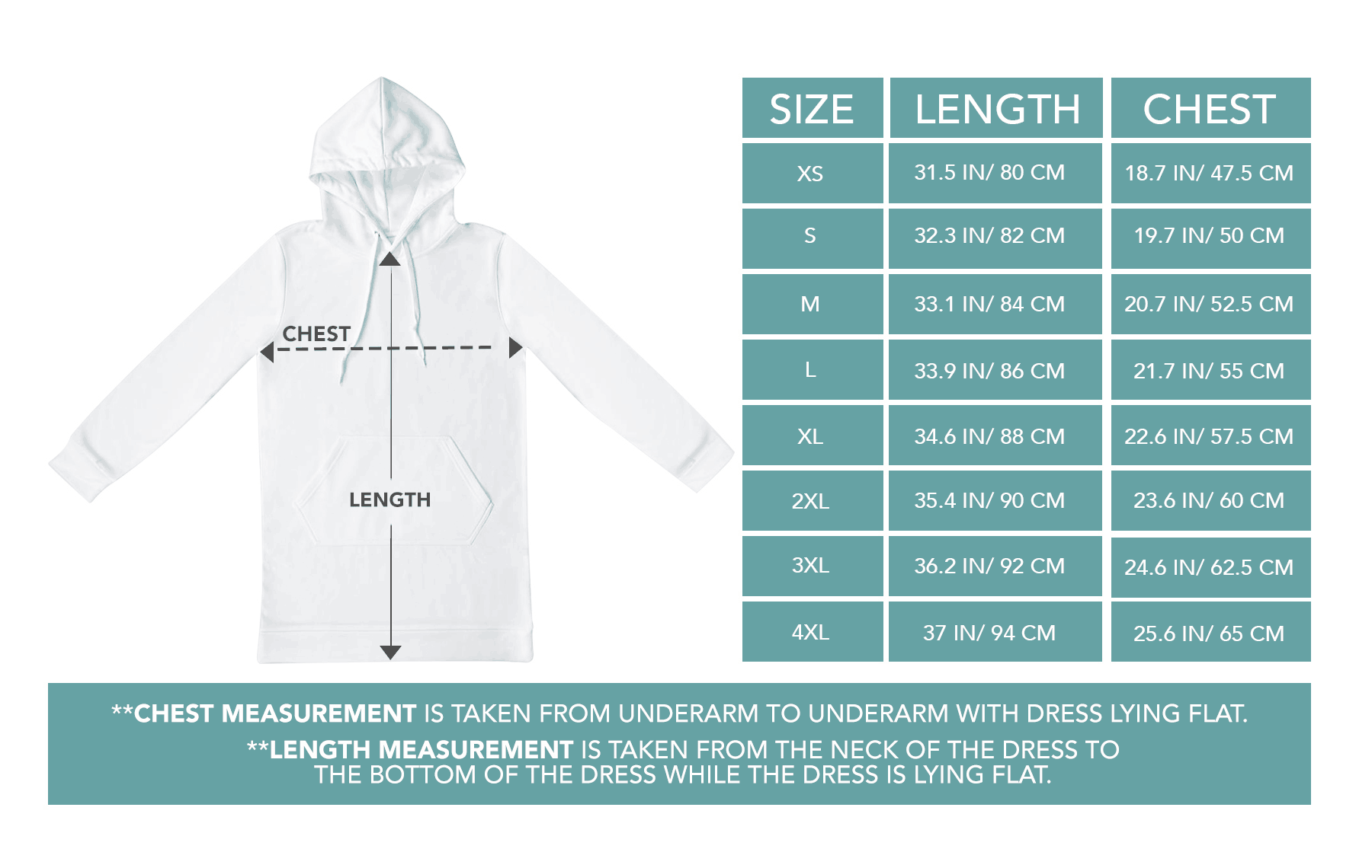 Hoodie Dress Sizing Chart
