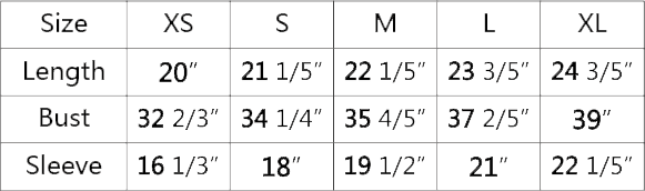 Kids Bomber Jacket Sizing Chart