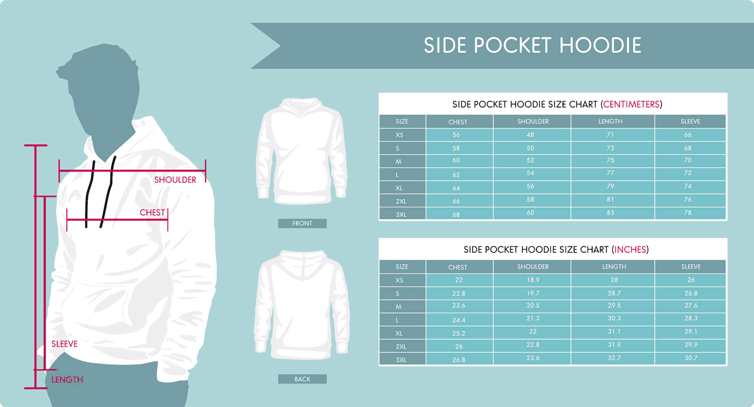 Side Pocket Hoodies Sizing Chart