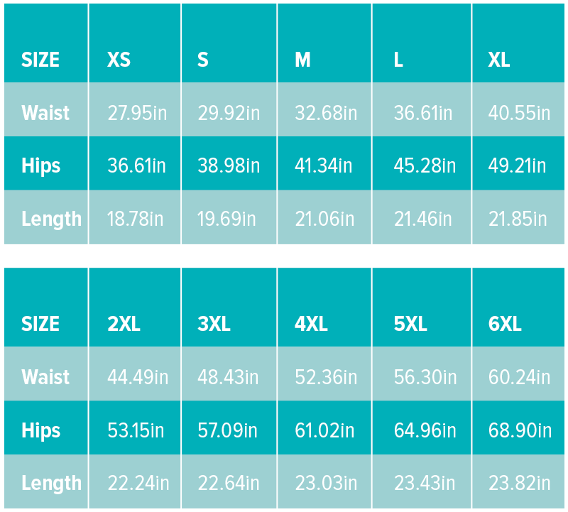 Board Shorts Sizing Chart