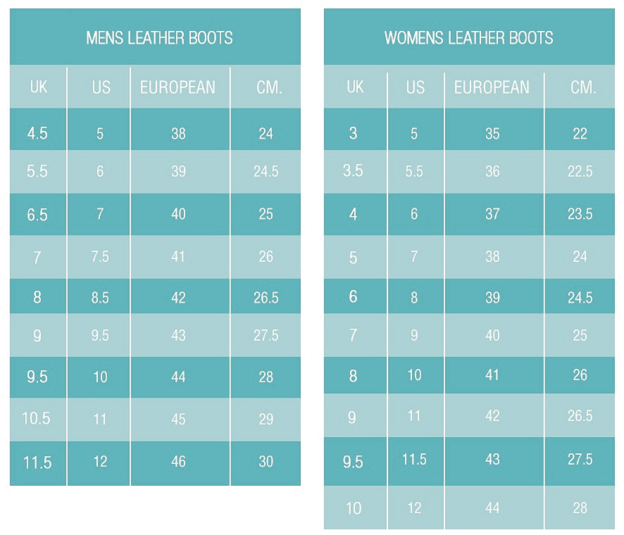 Faux Fur Leather Boots Sizing Chart