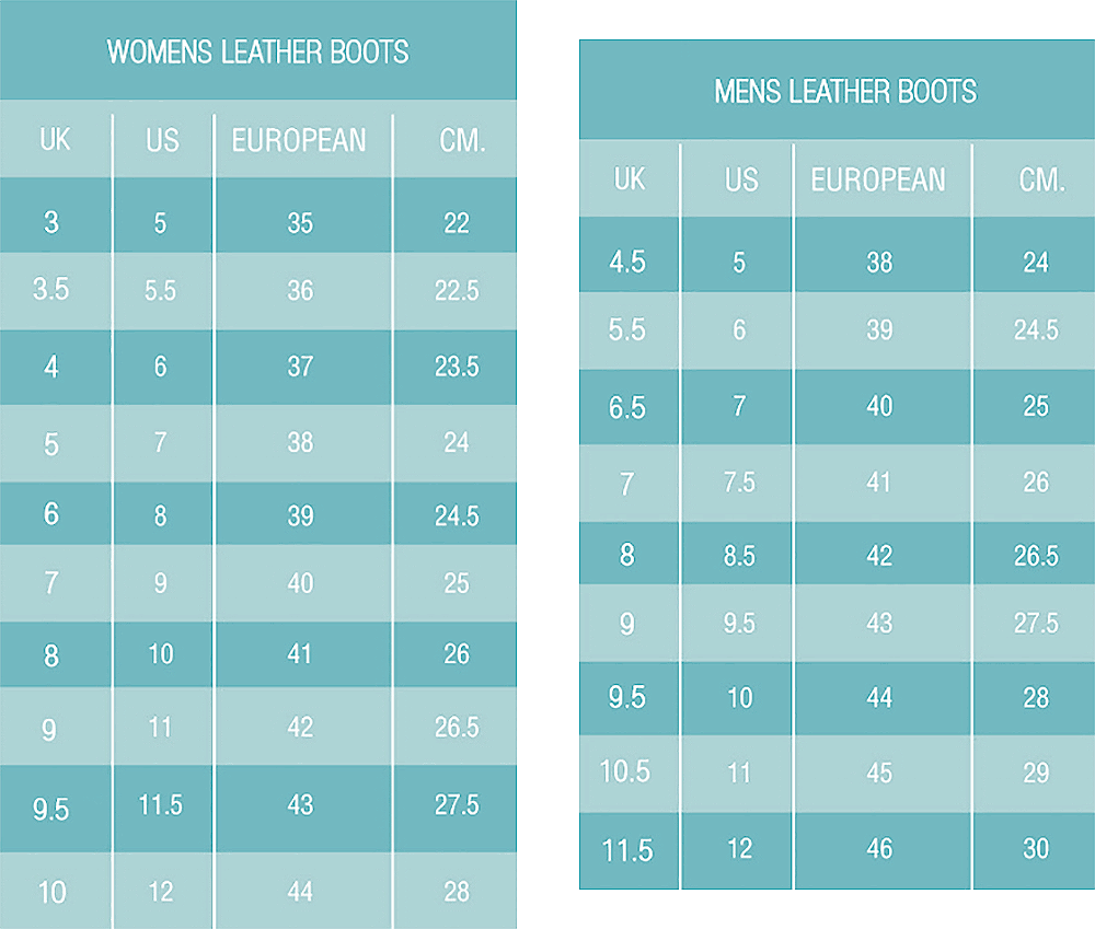 Sizing Chart Leather Boots