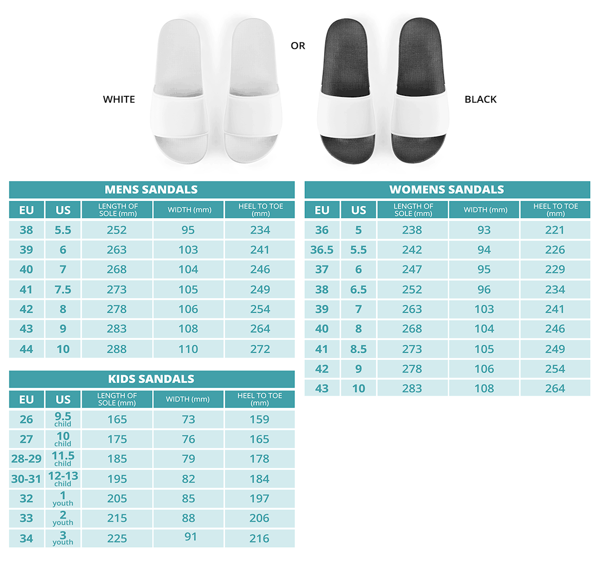 Slide Sandals Sizing Chart
