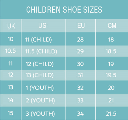 Slip On Kids Shoe Sizing Chart