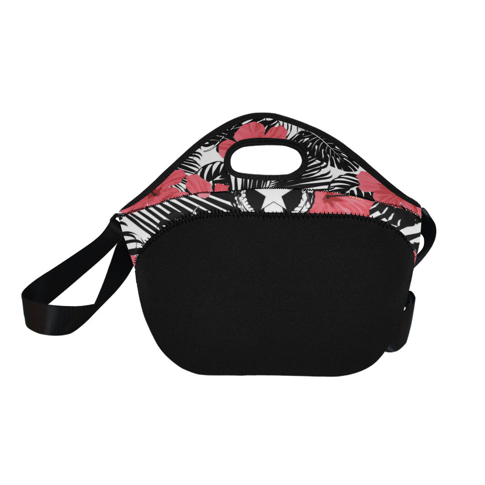 CNMI Pink Black Hibiscus Leaves Neoprene Lunch Bag Large