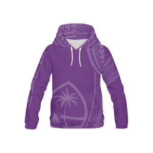 Kids Tribal Guam Seal All Over Purple Pullover Hoodie