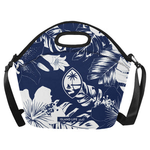 Guam Blue Floral Neoprene Lunch Bag Large