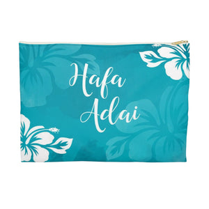 Hafa Adai Guam Chamorro Hibiscus Accessories Blue Carry All Pouch
