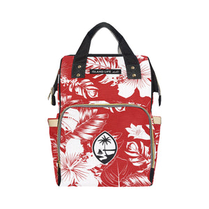 Guam Red Floral Baby Diaper Backpack Bag
