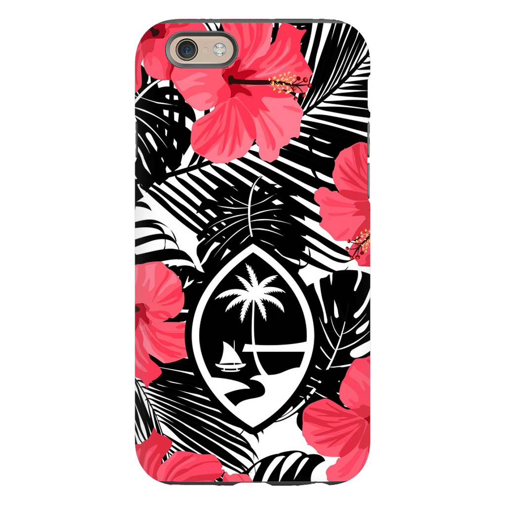 Guam Pink Black Hibiscus Premium Glossy Tough Phone Case