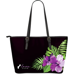 Love Guam Purple Hibiscus Black Large Leather Tote Bag Purse