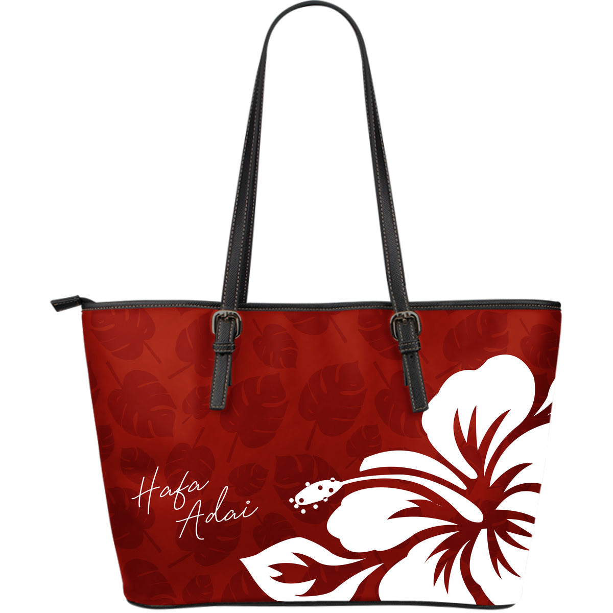 Hafa Adai Guam Dark Red and White Hibiscus Large Leather Tote Purse