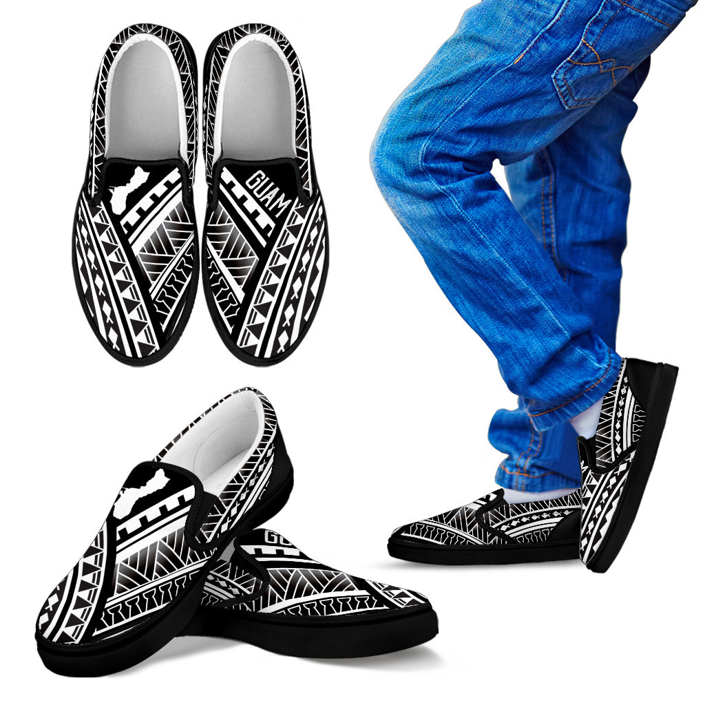 Guam Tribal Black Design Slip On Kids Shoe